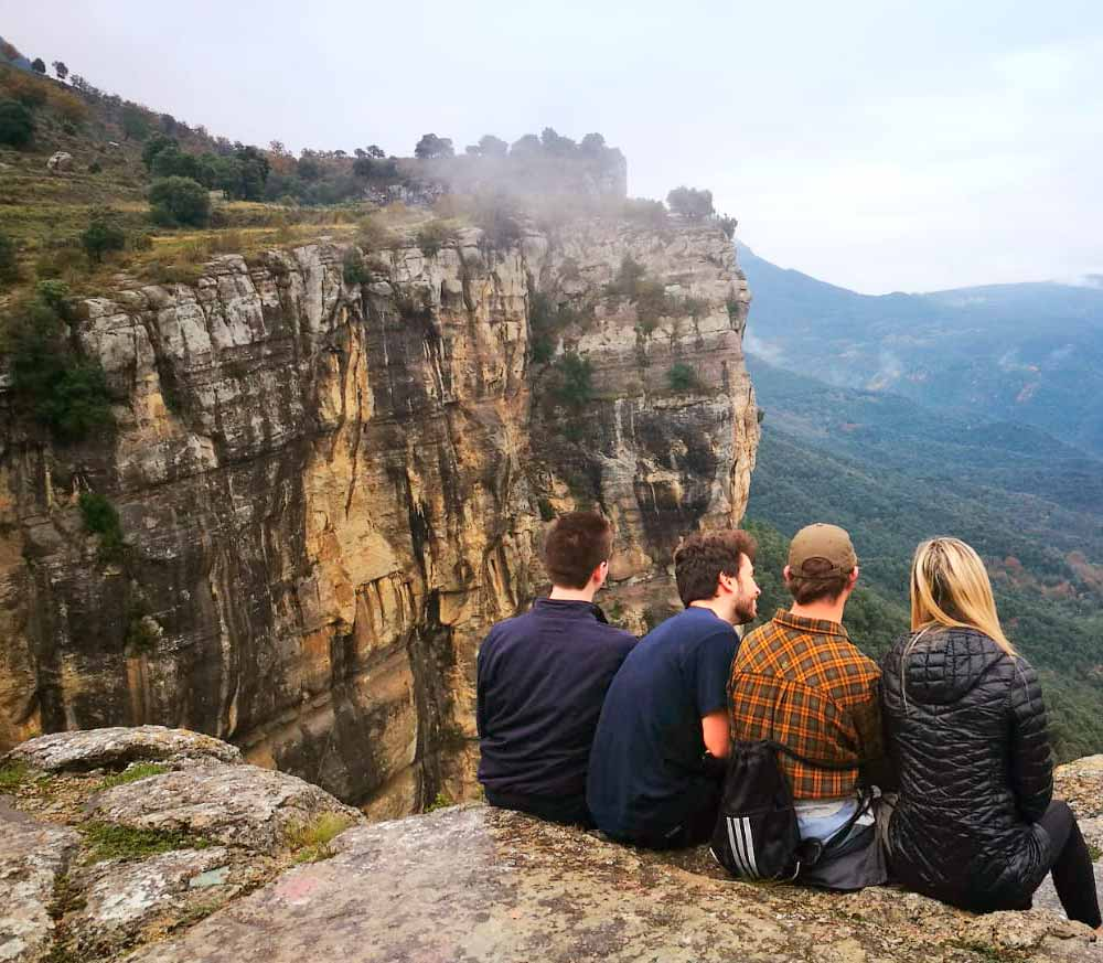 Students overlooking the Rupit Valley